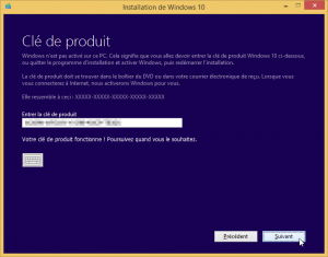 Installer Windows 10 Saisie de la clé de licence