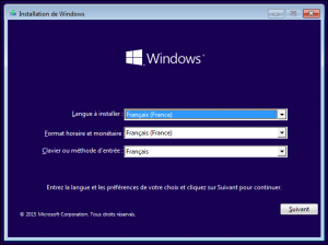 Installer WIndows 10 1ère étape