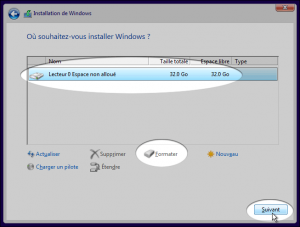 Installation de WIndows 10 5ème étape