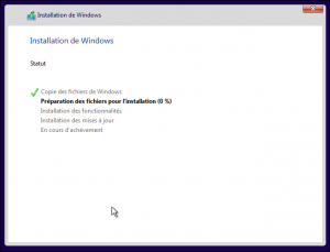 Installation de Windows 10 6ème étape