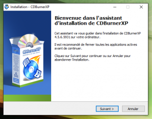 CDBurnerXP installation
